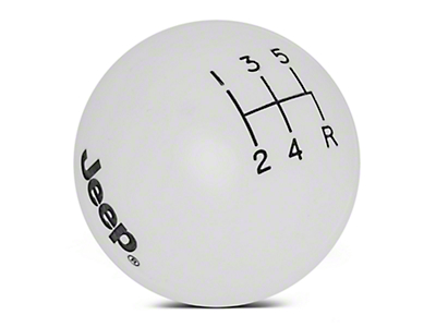 Speed Dawg Shift Knob w/ Jeep Logo - White (97-06 Wrangler TJ)