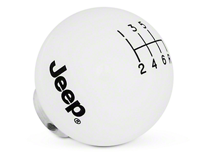 Speed Dawg Shift Knob w/ Jeep Logo - White (11-18 Jeep Wrangler JK)