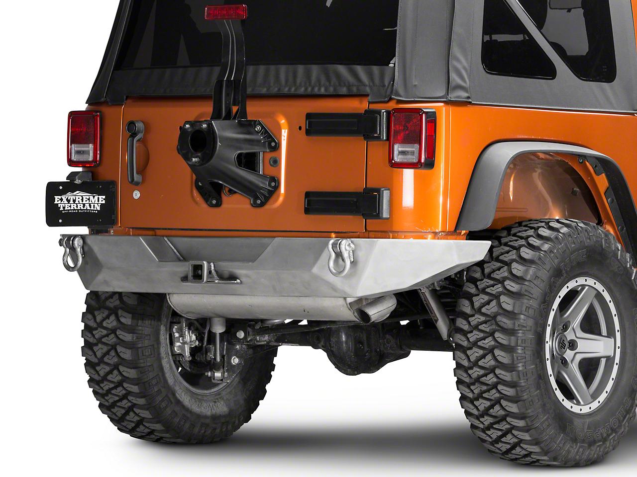 Poison Spyder Brawler Full Width Rear Bumper w/ Hitch - Bare Steel (07-18 Jeep Wrangler JK)