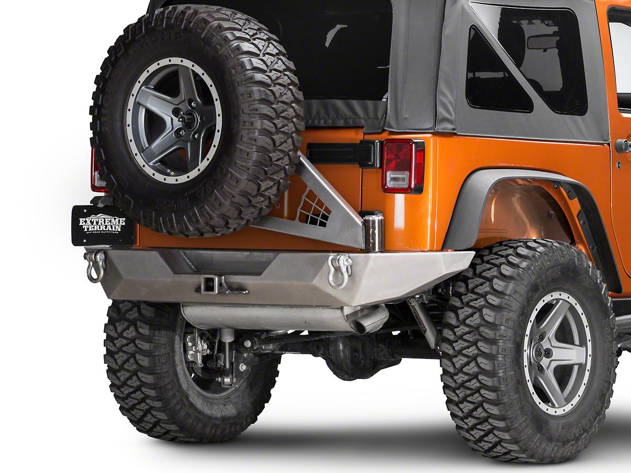 Poison Spyder Brawler Full Width Rear Bumper w/ Tire Carrier & Hitch - Bare Steel (07-18 Jeep Wrangler JK)