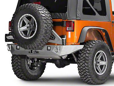 Poison Spyder Brawler Full Width Rear Bumper w/ Tire Carrier. Hitch & LED Light Mounts - Bare Steel (07-18 Wrangler JK)