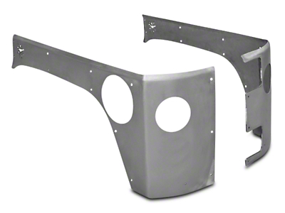 Poison Spyder Crusher Corner Guards w/ Round Tail Light & Backup Light Cutouts - Bare Steel (07-18 Jeep Wrangler JK 4 Door)