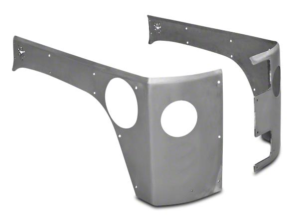 Poison Spyder Crusher Corner Guards w/ Round Tail Light & Backup Light Cutouts - Bare Steel (07-18 Wrangler JK 4 Door)