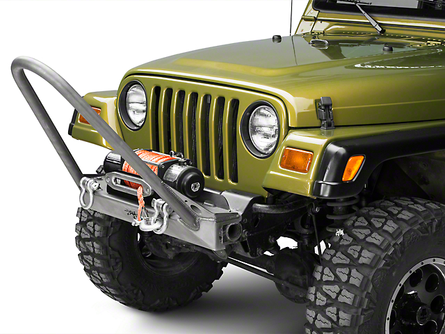 Poison Spyder BFH Front Bumper w/ Competition Stinger & Shackle Tabs - Bare Steel (97-06 Jeep Wrangler TJ)