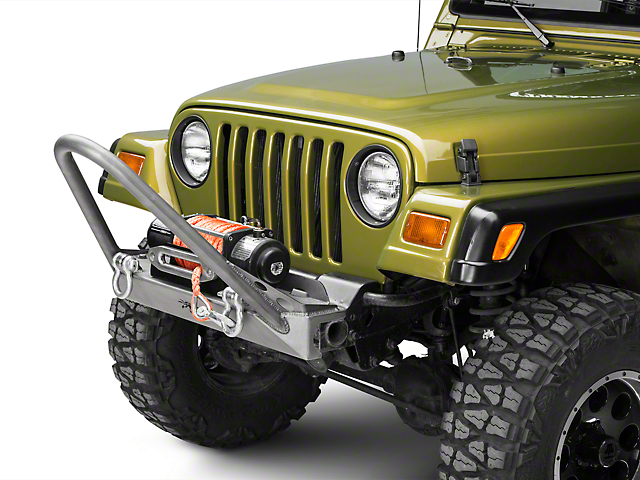 Poison Spyder BFH Front Bumper with Trail Stinger and Shackle Tabs; Bare Steel (97-06 Jeep Wrangler TJ)
