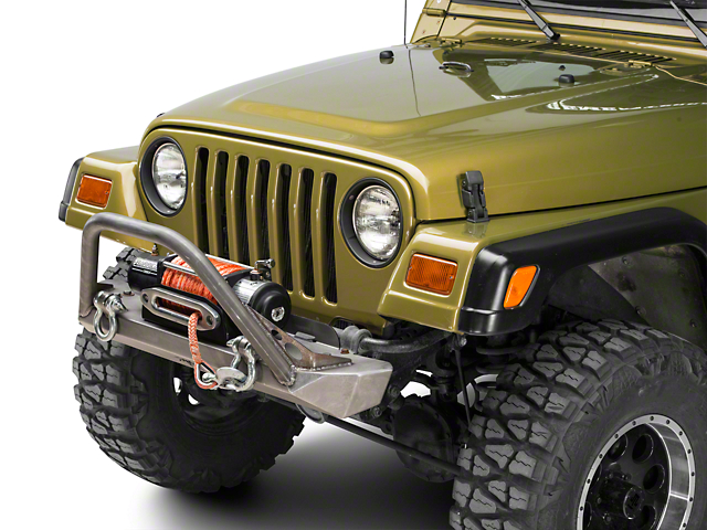 Poison Spyder RockBrawler Front MID Width Bumper with Brawler Bar and Shackle Tabs; Bare Steel (97-06 Jeep Wrangler TJ)
