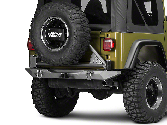 Poison Spyder RockBrawler Rear Bumper with Tire Carrier; Bare Steel (97-06 Jeep Wrangler TJ)