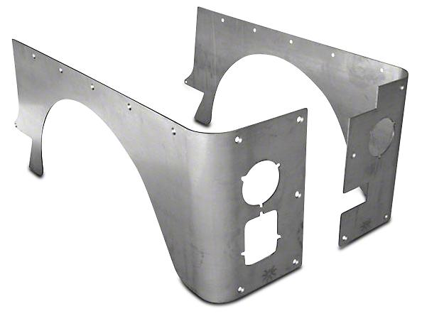Poison Spyder Stock Crusher Corner Guards - Bare Aluminum (87-95 Wrangler YJ)