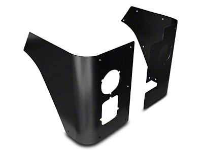 Poison Spyder Trail Corner Guards w/ Round LED Tail Light Cutouts - Black (87-95 Wrangler YJ)