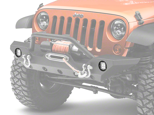 Poison Spyder Fog Light Mounts for Rigid Industries Dually/D2 LED Lights (07-18 Jeep Wrangler JK)