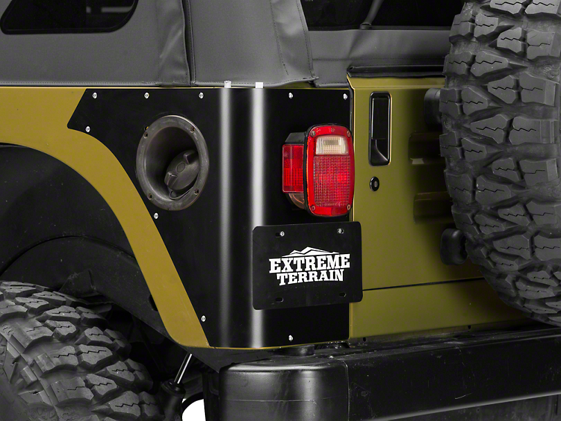 Poison Spyder Trail Corner Guards w/ OEM Tail Light Cutouts - Black (97-06 Wrangler TJ)