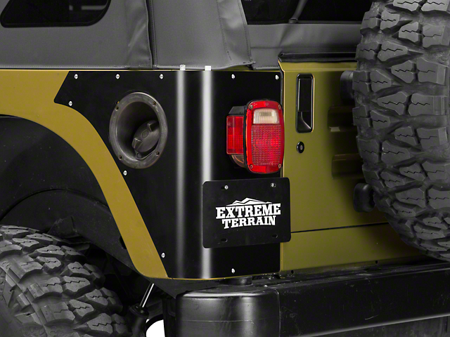 Poison Spyder Trail Corner Guards w/ OEM Tail Light Cutouts - Black (97-06 Jeep Wrangler TJ, Excluding Unlimited)