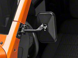 Rugged Ridge Rectangular Stubby Trail Mirror - Textured Black - Pair (97-18 Jeep Wrangler TJ & JK)