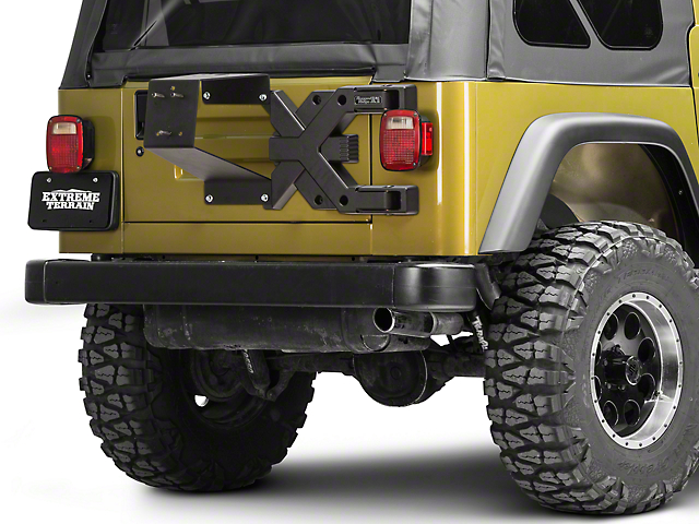 rugged ridge jeep wrangler spartacus hd tire carrier kit 11546 60 (97-06 jeep  wrangler tj)