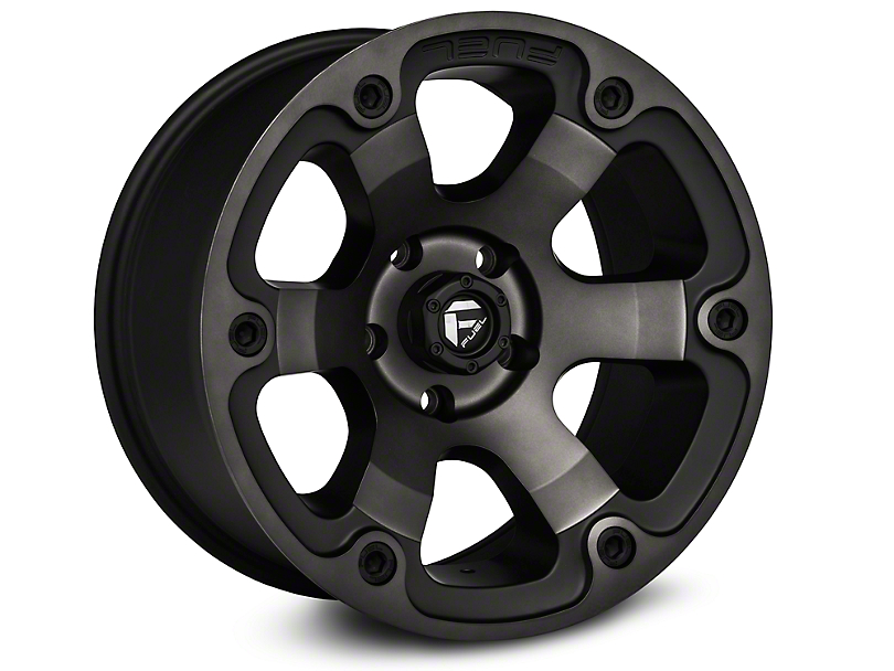 Fuel Wheels Beast Black Machined Wheels (07-18 Wrangler JK; 2018 Wrangler JL)