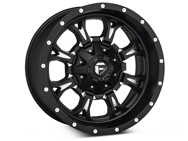 Fuel Wheels Krank Black Milled Wheels (07-18 Wrangler JK; 2018 Wrangler JL)