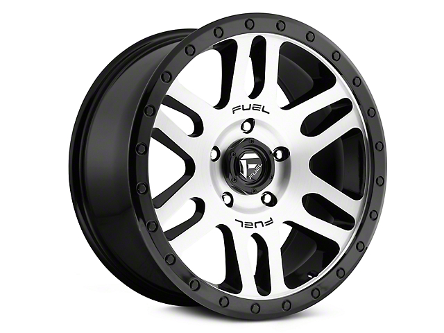 Fuel Wheels Recoil Black Machined Wheels (07-18 Jeep Wrangler JK; 2018 Jeep Wrangler JL)