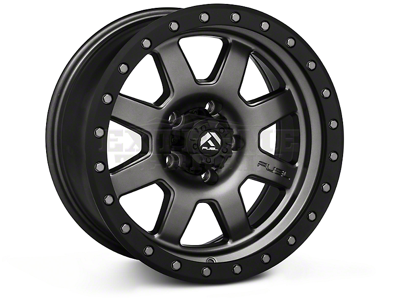 Fuel Wheels Trophy Matte Black with Black Ring Wheels (07-18 Wrangler JK; 2018 Wrangler JL)