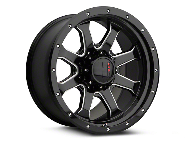 Havok Off-Road H-105 Black Machined Wheels (07-18 Jeep Wrangler JK; 2018 Jeep Wrangler JL)