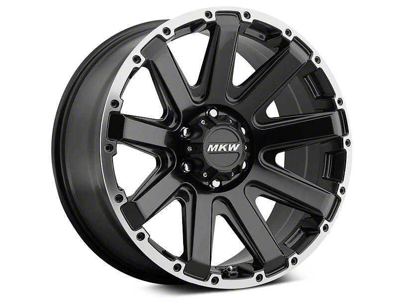 Mammoth MKW Offroad M94 Black with Machined Ring Wheels (07-18 Jeep Wrangler JK; 2018 Jeep Wrangler JL)