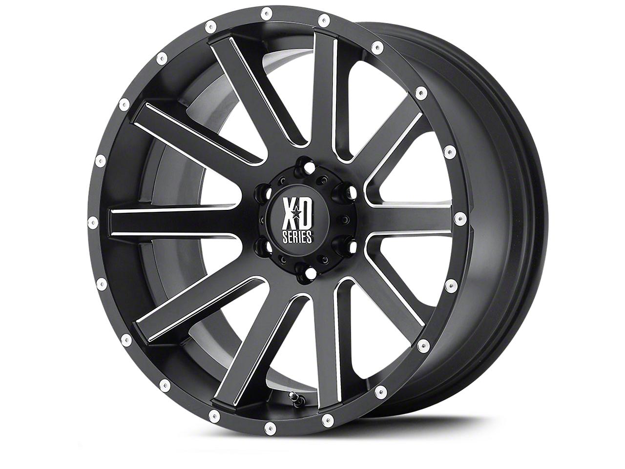 XD Heist Satin Black Milled Wheels (07-18 Wrangler JK; 2018 Wrangler JL)