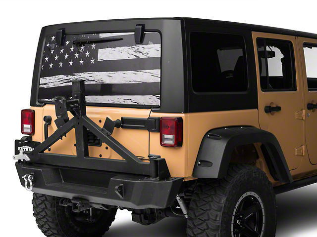Wrangler Perforated Distressed Flag Rear Window Decal - Rear window decals for vehicles