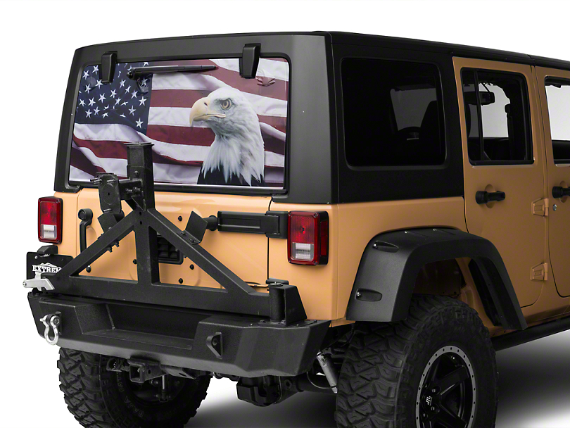 Jeep Wrangler Perforated Flag Amp Eagle Rear Window Decal