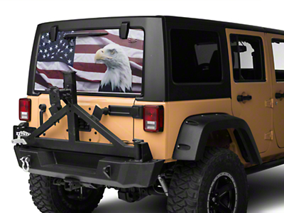 Perforated Flag & Eagle Rear Window Decal (07-18 Jeep Wrangler JK; 2018 Jeep Wrangler JL)