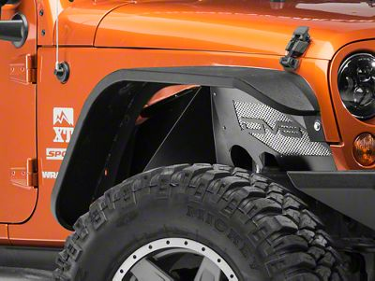 DV8 Off-Road Front Aluminum Inner Fender Flares - Black (07-18 Jeep Wrangler JK)