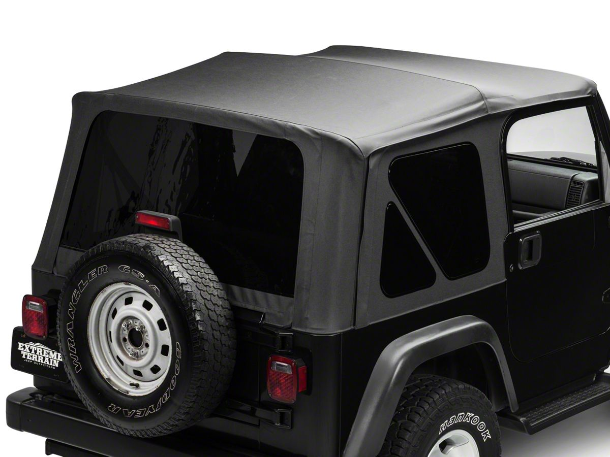 Jeep Wrangler Soft Top >> Trushield Replacement Soft Top W Tinted Windows Black Diamond 97 06 Jeep Wrangler Tj Excluding Unlimited