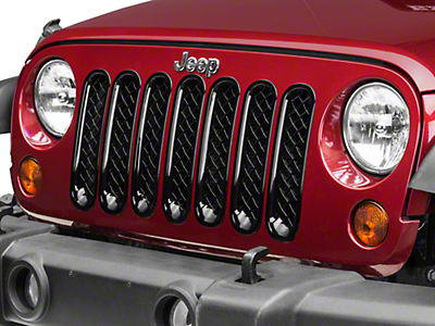 Black Horse Off Road 7-Piece Mesh Grille Insert - Black (07-18 Wrangler JK)