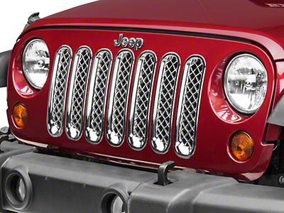 Black Horse Off Road 7-Piece Mesh Grille Insert - Chrome (07-18 Wrangler JK)