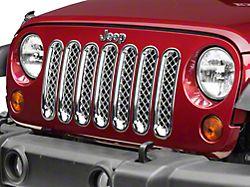 7-Piece Mesh Grille Insert; Chrome (07-18 Jeep Wrangler JK)