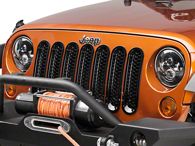 Rugged Ridge Mesh Grille Inserts - Black (07-18 Wrangler JK)