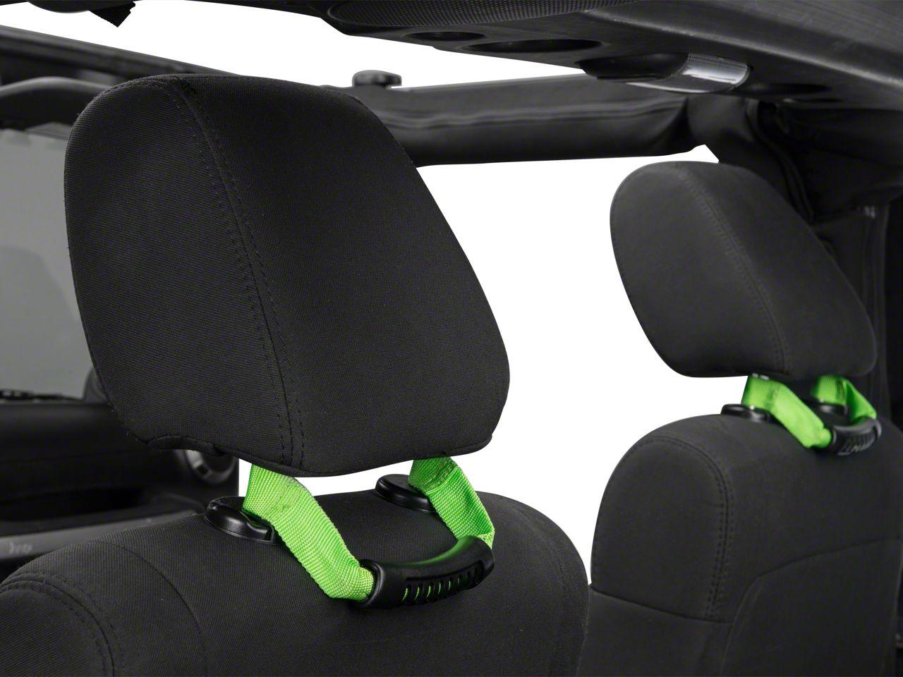 Rugged Ridge Seat Mount Grab Handles - Green (07-18 Jeep Wrangler JK)