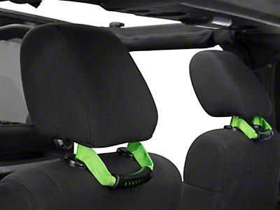 Rugged Ridge Seat Mount Grab Handles - Green (07-18 Wrangler JK)
