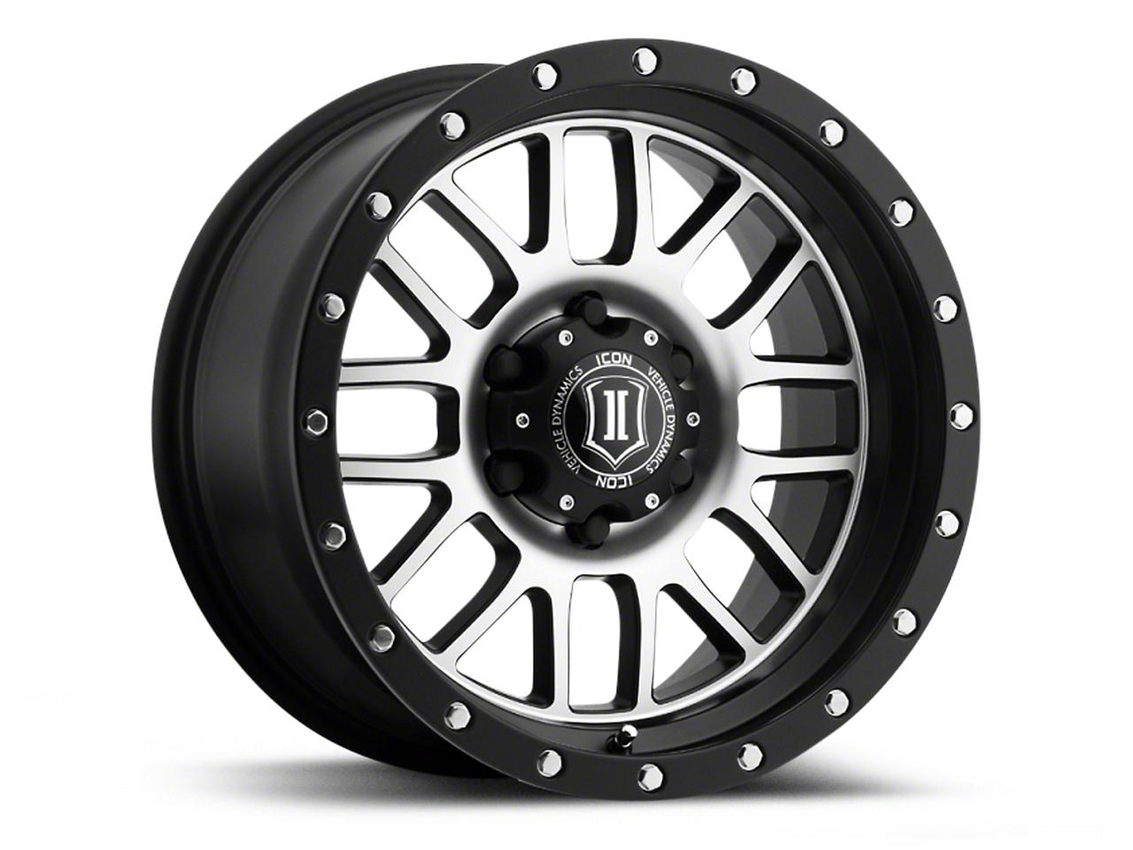 ICON Vehicle Dynamics Alpha Satin Black Machined Wheel - 17x8.5 (07-18 Jeep Wrangler JK; 2018 Jeep Wrangler JL)