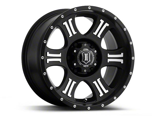 ICON Vehicle Dynamics Shield Satin Black Machined Wheel - 17x8.5 (18-20 Jeep Wrangler JL)