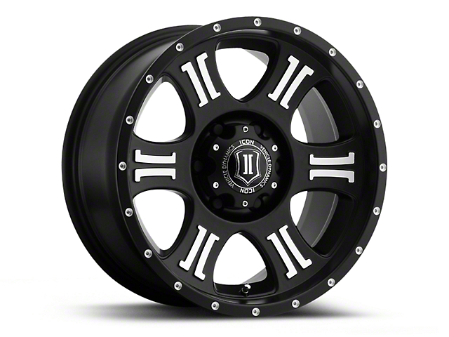 ICON Vehicle Dynamics Shield Satin Black Machined Wheel - 17x8.5 (07-18 Jeep Wrangler JK)
