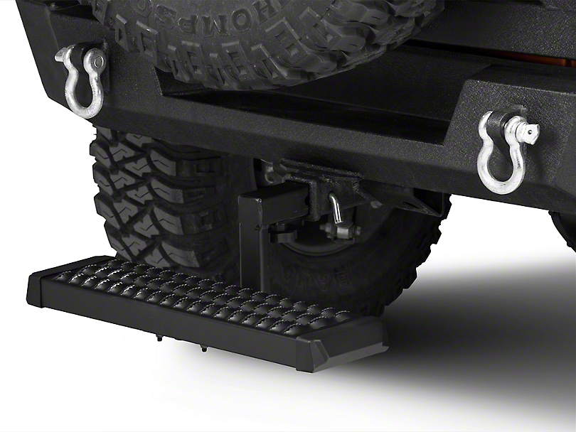 RedRock 4x4 Aluminum 6 in. Drop Hitch Step for 2 in. Receiver - Black (87-20 Jeep Wrangler YJ, TJ, JK & JL)
