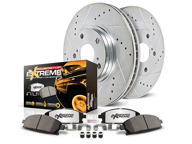 Power Stop Z36 Extreme Truck and Tow Brake Rotor and Pad Kit; Front and Rear (03-06 Jeep Wrangler TJ w/ Disc Brakes)