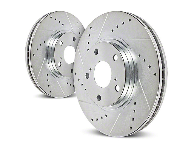 Power Stop Evolution Cross-Drilled and Slotted Rotors; Front Pair (90-98 Jeep Wrangler YJ & TJ; 1999 Jeep Wrangler TJ w/ 3-1/4 in. Composite Rotors)