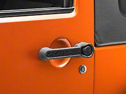Rugged Ridge Elite Door Handle Inserts; Black Tread (07-18 Jeep Wrangler JK 2 Door)