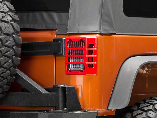 Rugged Ridge Elite Tail Light Guards - Red (07-18 Jeep Wrangler JK)