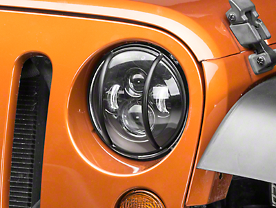 Rugged Ridge Headlight Euro Guards - Textured Black (07-18 Wrangler JK)