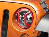 Rugged Ridge Elite Euro Headlight Guards - Red Aluminum (07-18 Jeep Wrangler JK)