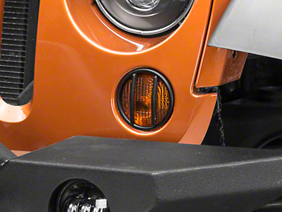 Rugged Ridge Turn Signal Euro Guards - Textured Black (07-18 Wrangler JK)