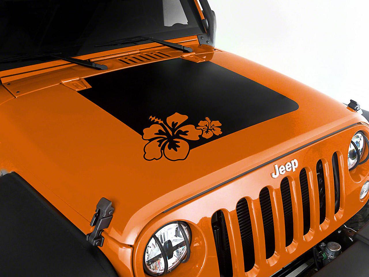 Rugged Ridge Hibiscus Hood Decal - Matte Black (07-18 Jeep Wrangler JK)