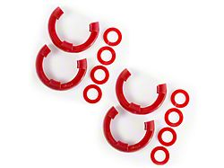 Rugged Ridge 3/4-Inch D-Ring Shackle Isolators; Red; Set of Four