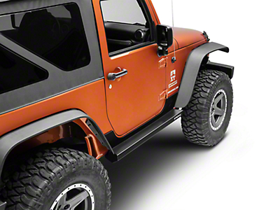 Rock-Slide Engineering Step Sliders w/ Body Armor - Textured Black (07-18 Wrangler JK 2 Door)